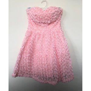 CALS | Textured Rose Strapless Pink Mini Dress